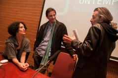 Mireia c. Saladrigues, Pol Capdevila Castells i Manel Esclusa al final de l'acte. Foto: Eric Mañas Lo Conte